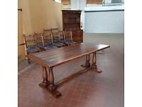 SOLID OAK LARGE REFECTORY COUNTRY FARMHOUSE DINNING/KITCHEN TABLE BY BRIGHTS OF NETTLEBED