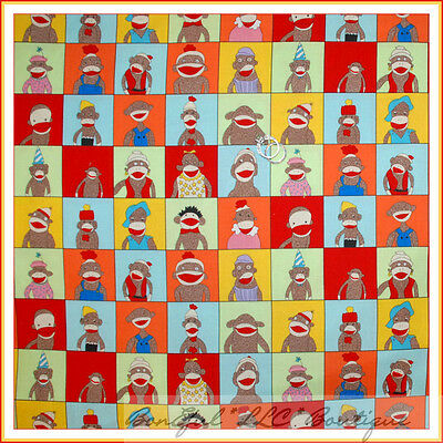 BonEful Fabric FQ Cotton Quilt Rainbow Red Blue Funky Sock Monkey Baby KID Block