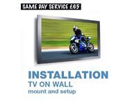 Tv on wall mountable bracket shelf