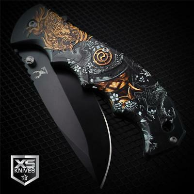 BLACK Demon SAMURAI DRAGON SLAYER Spring Assisted Pocket Knife 3D GRAPHICS (Dragon Demon)