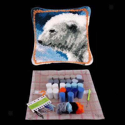(Polar Bear Latch Hook Kit with Basic Tools Instruction for DIY Pillow Case)
