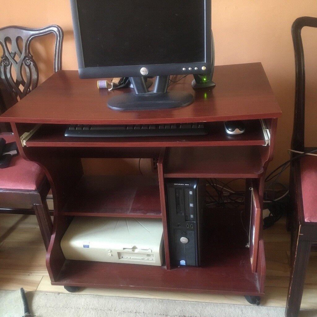 Computer Desk Pullout Keyboard Drawer Printer Shelf Three Other Shelves