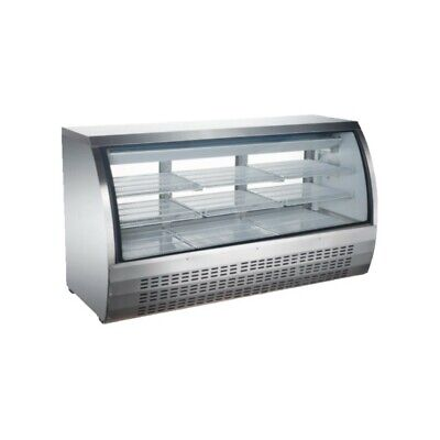 Peakcold 64 Curved Glass Refrigerated Deli Case Meat Showcase - Stainless