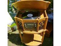 Vintage record player with radio