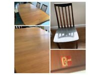 Gplan extendable table & 6 chairs