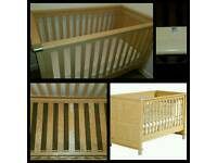 Nursery furniture, cotbed, wardrobe, drawers, changer
