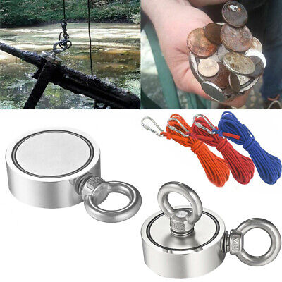 400 Lbs Fishing Magnet Kit Strong Neodymium Pull Force With Rope Hook For Hunt