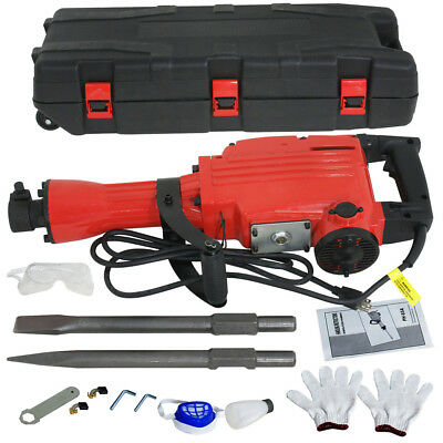 2200W Demolition Jack Hammer Electric Concrete Breaker 2 Chisel 2 Punch Bit Set