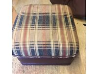 Brown part leather footstool