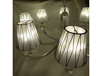 Large Franklite Artemis Chandelier Ceiling Light, 8 Silver Shades, 8 x 3.8W LED bulbs included