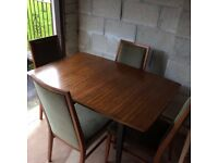 Solid Extending Teak Hardwood Dining Table and 4 Chairs
