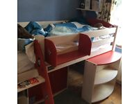 Single mid sleeper solid pine cabin bed frame and mattress in excellent condition - York