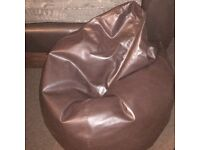 Faux Leather Medium Sized Bean Bag Chair Chocolate Brown