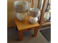 Lovely oak table with two new lamps for sale table vgc