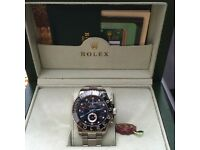Silver Rolex YatchMaster II with Black Face and Black Ceramic Bezel in Rolex Box and Rolex Bag