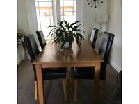 Oak Dining Table and 4 Dark Brown Leather Chairs