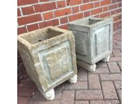 2 VINTAGE SQUARE PLANT/SHRUB CONTAINERS- With free standing feet