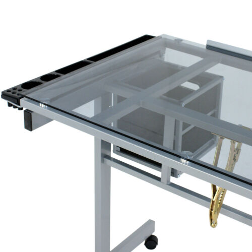 Home Drawing Desk Station Tempered Glass Adjustable Drafting Table W/ 4 Wheels Art Supplies