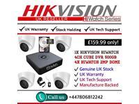 Hikvision HiWatch CCTV: 4CH Hikvision Turbo-HD Cube, 4x Hikvison 1080P Dome Cameras