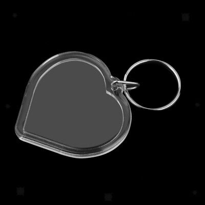 10x Heart Shape Acrylic Blank Photo Picture Frame Key Ring Keychain -