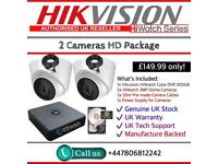 Hikvision HiWatch CCTV: 4CH Hikvision Turbo-HD Cube, 2x HiWatch 2MP 1080P Dome Cameras