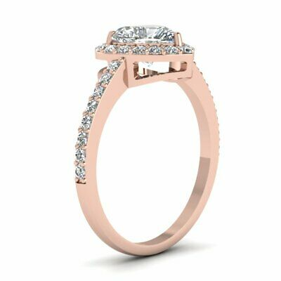 Heart Shaped 3/4 Ct Halo Diamond Engagement Rings 14K Rose Gold GIA Certified 2