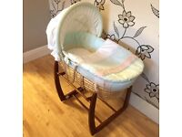 Mamas and Papas Moses basket and wooden rocking stand with bedding