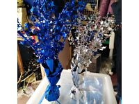 11 Silver and 11 blue Star Spray CENTREPIECE Table decoration can attach balloons