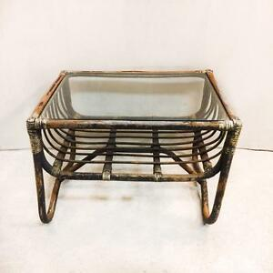 Vintage Rustic Rattan 2 Tier Glass Top Coffee Table