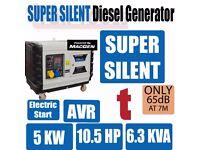 JEFFERSON 10 1/2 HP SUPER SILENT DIESEL GENERATOR 6.3KVA / 5.0KW
