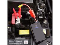 Car Mini Jump Starter Battery 8000mAh 300A with Jump Leads, USB Port and LED Flashlight
