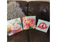 Cupcakes canvases for kids room or kitchen and canvas photo working clock