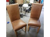 Leather & Oak Dining Chairs x 2