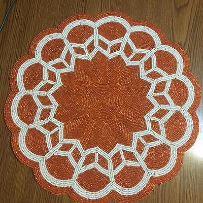 Kim Seybert Autumn Orange Fully Beaded Ivory Scalloped Edges Table Placemat