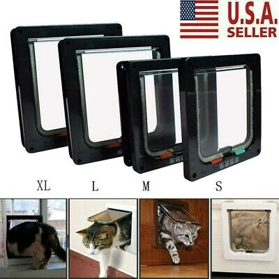 USA 4 Way Pet Cat Small Dog Magnetic Lock Lockable Safe Flap Door Frame S/M/L/XL