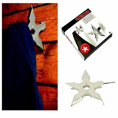 NINJA COAT HOOK Shuriken Novelty Throwing Star Dart Metal Clothes Wall Hanger