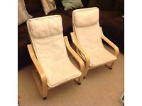 Pair of childrens IKEA Poang arm chairs in natural fabric
