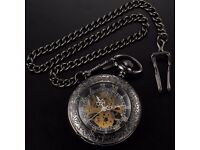 Brand new Skeleton Mechanical Open Face Retro Vintage Pendant Pocket Watch