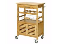 SoBuy® Bamboo Kitchen Storage Serving Trolley Cart with Cabinet Removable Basket