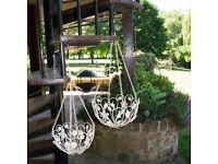 2x White Metal Hanging Flower Garden Planter Baskets