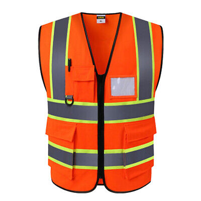 Worker Reflective Safety Vest For Engineer Construction W Pockets Universal