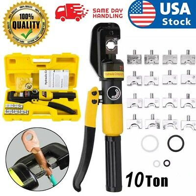 10 Ton Hydraulic Wire Crimper w/ 8 Dies Battery Cable Lug Terminal Crimping Tool