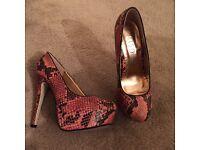 Pink Miso Snake Skin Heels sIZE 5