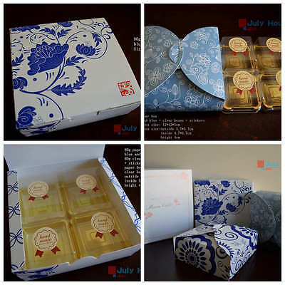 4/5/6-pack 4-spot 50/80/100g moon cake paper dessert boxes clear boxes stickers