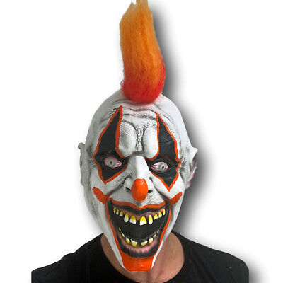 Scary Clown Mask Halloween Latex with Orange Hair Horror Fancy Dress Accessory ()