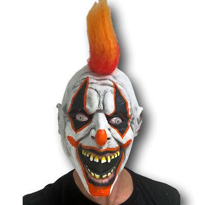 Scary Clown Mask Halloween Latex with Orange Hair Horror Fancy Dress Accessory - Clown Mask With Orange Hair