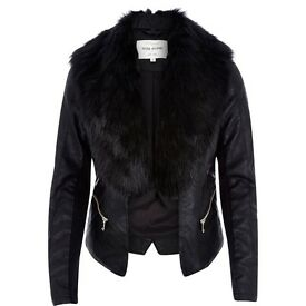 Ladies river island leather coat with fur trim