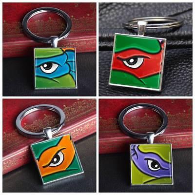 Teenage Mutant Ninja Turtles Cartoon Keychain Keyring Silver Glass Key Ring Gift