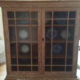 Antique solid oak glazed dresser with limed oak finish, perfect for displaying plates etc.