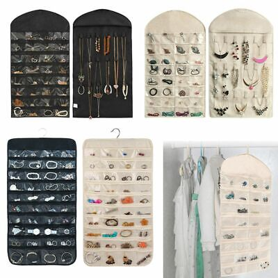 Jewelry Hanging 32/80 Pockets Organizer Storage Holder Earring Bag Pouch Display